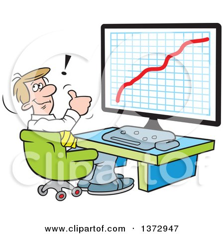 Clipart of a Cartoon Happy White Businessman Giving a Thumb up and Sitting in Front of a Growth Graph on a Computer - Royalty Free Vector Illustration by Johnny Sajem