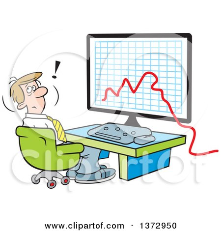 Clipart of a Cartoon Stressed White Businessman Sitting in Front of a Declining Business Graph on a Computer - Royalty Free Vector Illustration by Johnny Sajem