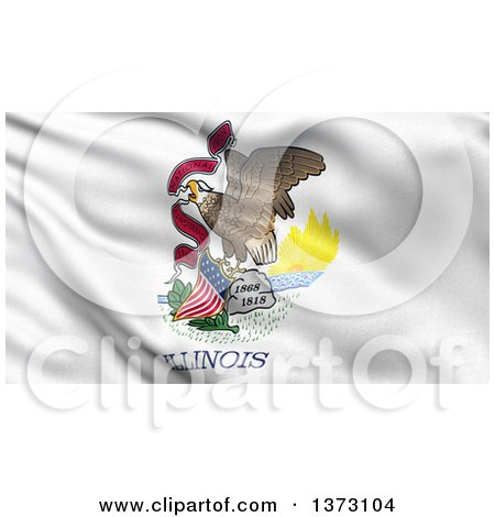 Clipart of a 3d Rippling State Flag of Illinois, USA - Royalty Free Illustration by stockillustrations