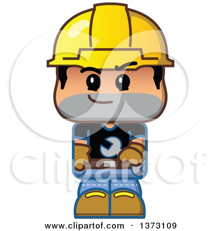Clipart Of A Male Construction Worker Wearing a Hardhat And Holding a Wrench - Royalty Free Vector Illustration by Clip Art Mascots