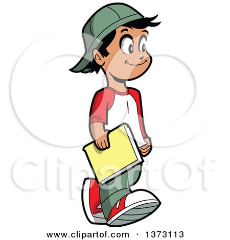Clipart Of A Happy Casual Hispanic Boy Walking And Carrying a Book - Royalty Free Vector Illustration by Clip Art Mascots
