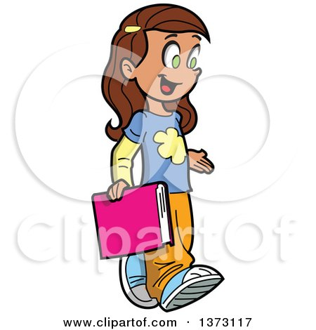 Clipart Of A Happy Brunette White School Girl Walking and Carrying a Book - Royalty Free Vector Illustration by Clip Art Mascots