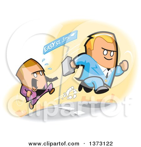Clipart Of Competitive White Business Men Racing Towards Easy Street - Royalty Free Vector Illustration by Clip Art Mascots