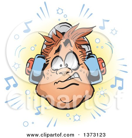 Clipart Of A Chubby White Man's Face With Headphones and Music Notes - Royalty Free Vector Illustration by Clip Art Mascots