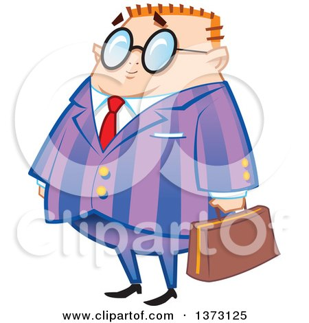 Clipart Of A Short Chubby Red Haired White Nerdy Businessman Holding a Briefcase - Royalty Free Vector Illustration by Clip Art Mascots