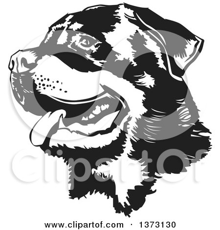 Clipart of a Black and White Panting Rottweiler Dog Face - Royalty Free Vector Illustration by David Rey