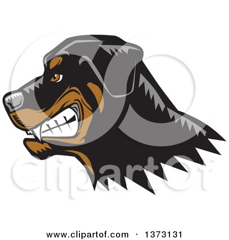 Clipart of a Woodcut Growling Rottweiler Dog Face - Royalty Free Vector Illustration by David Rey