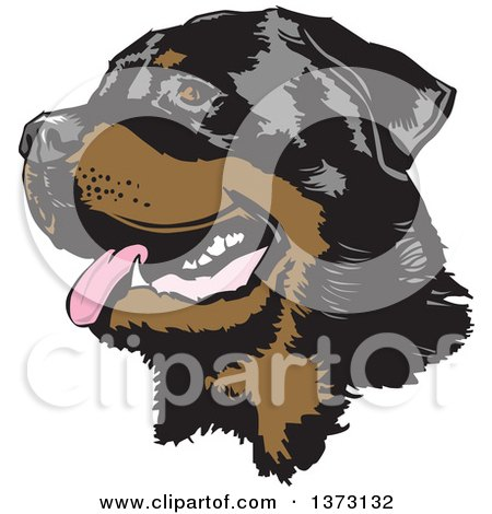 Clipart of a Happy Panting Rottweiler Dog Face - Royalty Free Vector Illustration by David Rey