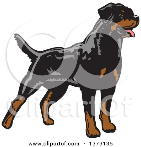 Clipart of a Woodcut Standing Alert Rottweiler Dog - Royalty Free Vector Illustration by David Rey