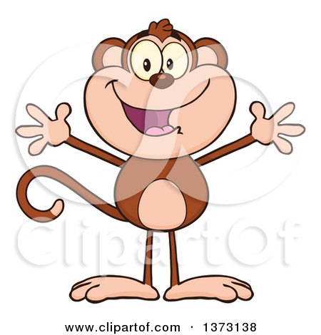 Cartoon Clipart of a Happy Monkey Mascot with Open Arms - Royalty Free Vector Illustration by Hit Toon