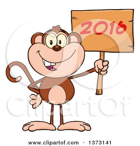 Cartoon Clipart of a Happy Monkey Mascot Holding a Wooden New Year 2016 Sign - Royalty Free Vector Illustration by Hit Toon