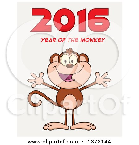 Cartoon Clipart of a Happy Monkey Mascot with Open Arms Under New Year 2016 Text, on Gradient White - Royalty Free Vector Illustration by Hit Toon