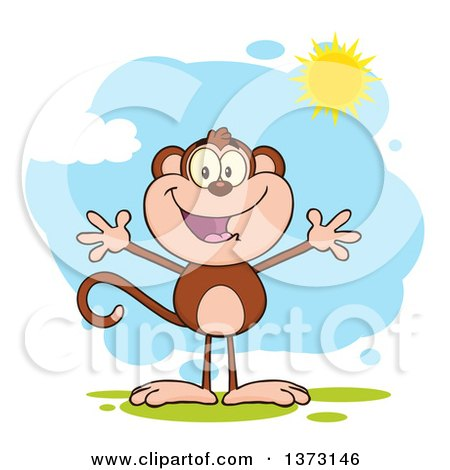 Cartoon Clipart of a Happy Monkey Mascot with Open Arms Against a Blue Sky with Clouds and Sunshine - Royalty Free Vector Illustration by Hit Toon