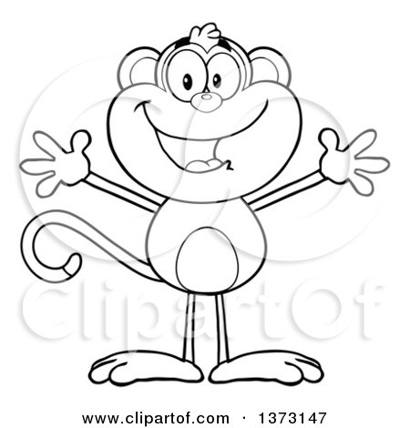 Cartoon Clipart of a Black and White Happy Monkey Mascot with Open Arms - Royalty Free Vector Illustration by Hit Toon