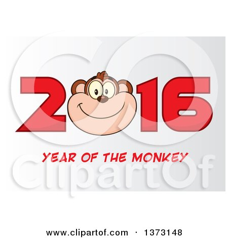 Cartoon Clipart of a Happy Monkey Mascot Face in New Year 2016, on Gradient White - Royalty Free Vector Illustration by Hit Toon