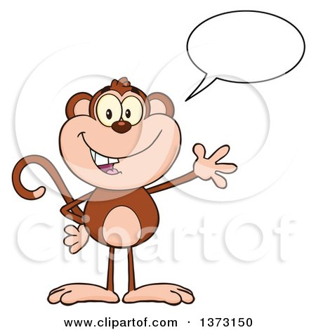 Cartoon Clipart of a Happy Monkey Mascot Talking and Waving - Royalty Free Vector Illustration by Hit Toon