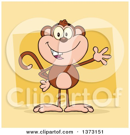 Cartoon Clipart of a Happy Monkey Mascot Waving over Yellow - Royalty Free Vector Illustration by Hit Toon