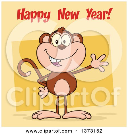 Cartoon Clipart of a Happy Monkey Mascot Waving over Yellow, with Happy New Year Text - Royalty Free Vector Illustration by Hit Toon