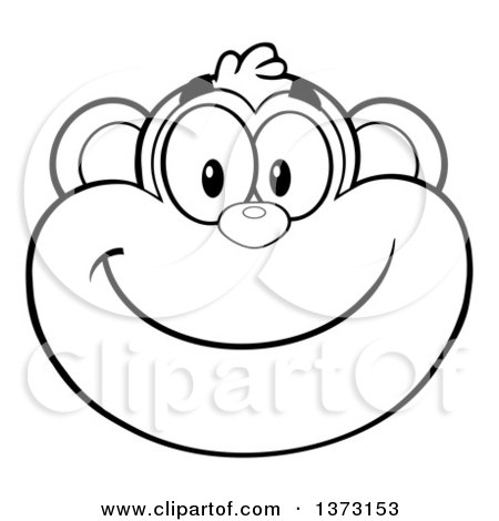 Cartoon Clipart of a Black and White Happy Monkey Mascot Face Smiling - Royalty Free Vector Illustration by Hit Toon