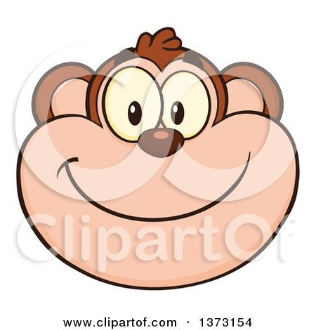 Cartoon Clipart of a Happy Monkey Mascot Face Smiling - Royalty Free Vector Illustration by Hit Toon