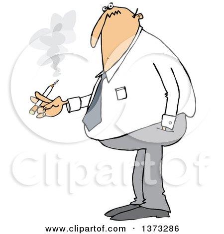 Cartoon Chubby White Business Man Smoking a Cigarette Posters, Art Prints