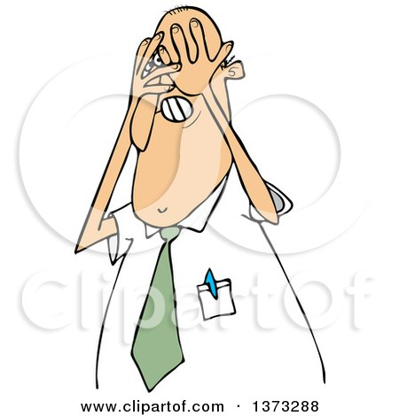 Clipart of a Cartoon White Scared Business Man Covering His Face with His Hands - Royalty Free Vector Illustration by djart