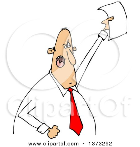 Clipart of a Cartoon Angry White Business Man Shouting and Holding up a Document - Royalty Free Vector Illustration by djart