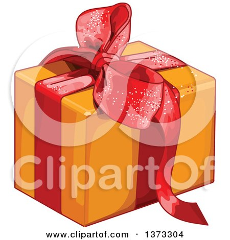 Clipart of a Gift Box Wrapped in Orange Paper and a Red Bow and Ribbon - Royalty Free Vector Illustration by Pushkin