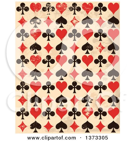 Clipart of a Grungy Background of Black and Red Playing Card Suit Icons over Beige - Royalty Free Vector Illustration by Pushkin