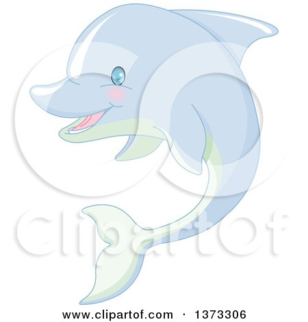 Clipart of a Cute Happy Dolphin - Royalty Free Vector Illustration by Pushkin