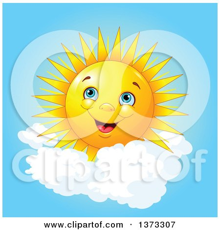 Clipart of a Cheerful Happy Sun with Puffy Clouds in a Blue Sky - Royalty Free Vector Illustration by Pushkin
