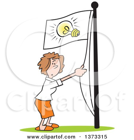 Cartoon Clipart of a White Business Woman Running an Idea up the Flag Pole - Royalty Free Vector Illustration by Johnny Sajem
