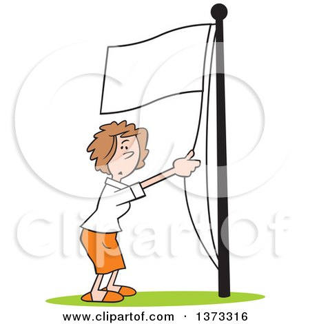 Cartoon Clipart of a White Business Woman Running a White Flag up a Pole - Royalty Free Vector Illustration by Johnny Sajem
