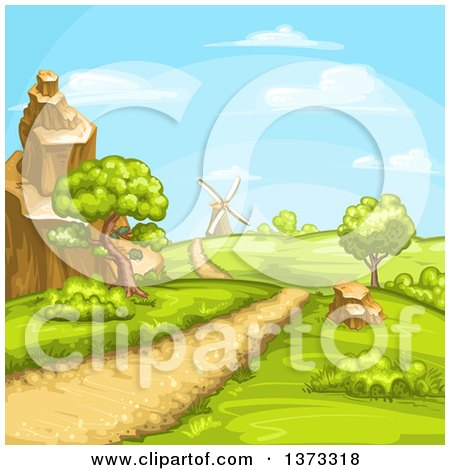 Clipart of a Hilly Rural Road and Landscape with a Windmill - Royalty Free Vector Illustration by merlinul