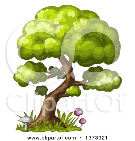 Clipart of a Tree with Mushrooms and Grass - Royalty Free Vector Illustration by merlinul
