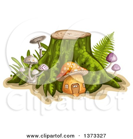 Clipart of a Tree Stump with a Mushroom House and Ferns - Royalty Free Vector Illustration by merlinul