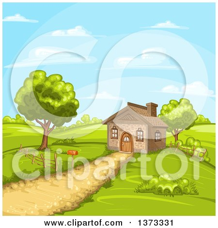 Clipart of a Cottage House in a Hilly Rural Landscape - Royalty Free Vector Illustration by merlinul