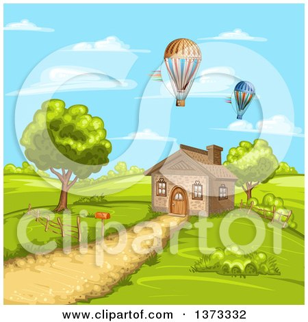 Clipart of a Cottage House in a Hilly Rural Landscape with Hot Air Balloons - Royalty Free Vector Illustration by merlinul