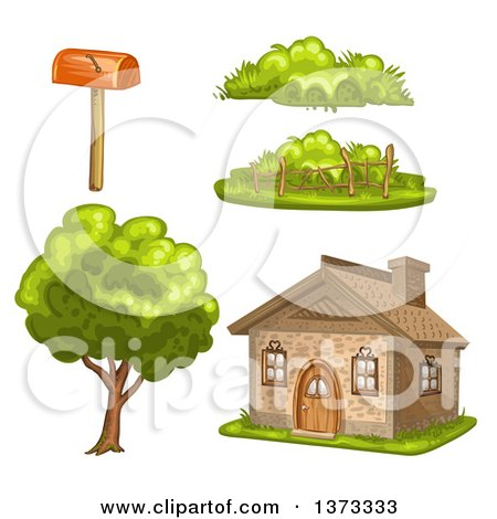 Clipart of a Cottage House with Plants and a Mailbox - Royalty Free Vector Illustration by merlinul