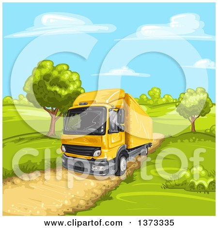 Clipart of a Yellow Big Rig Truck on a Rural Dirt Road - Royalty Free Vector Illustration by merlinul