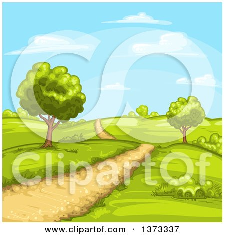Clipart of a Dirt Road in a Hilly Country Landscape - Royalty Free Vector Illustration by merlinul