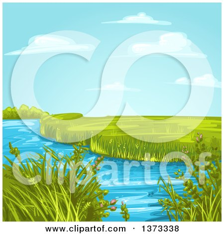 Clipart of a Creek or Stream with Aquatic Plants and a Green Landscape - Royalty Free Vector Illustration by merlinul