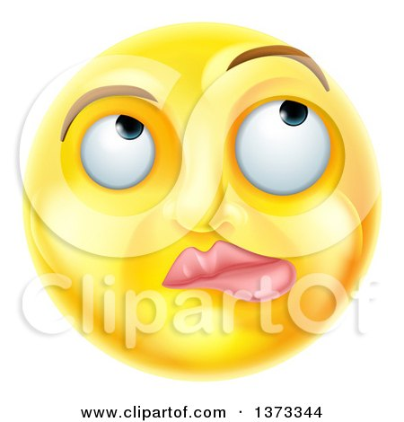 Clipart of a 3d Yellow Smiley Emoji Emoticon Face Thinking - Royalty Free Vector Illustration by AtStockIllustration