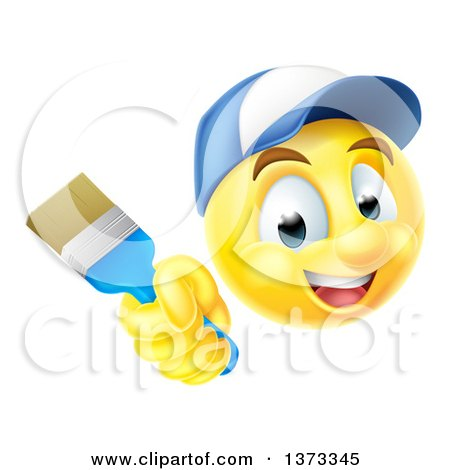 Clipart of a 3d Painter Yellow Smiley Emoji Emoticon Face Holding a Brush - Royalty Free Vector Illustration by AtStockIllustration