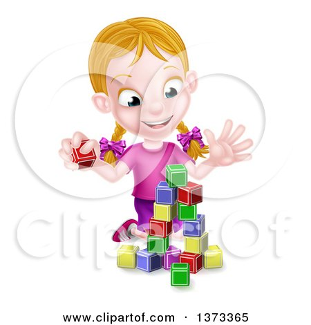 Clipart of a Happy Blond White Girl Playing with Toy Blocks - Royalty Free Vector Illustration by AtStockIllustration