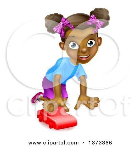 Clipart of a Happy Black Girl Playing with a Toy Car - Royalty Free Vector Illustration by AtStockIllustration