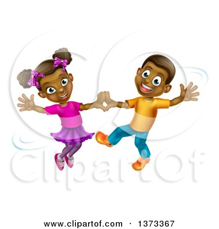 Clipart of a Happy Black Boy and Girl Dancing - Royalty Free Vector Illustration by AtStockIllustration