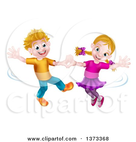 Clipart of a Happy White Boy and Girl Dancing - Royalty Free Vector Illustration by AtStockIllustration