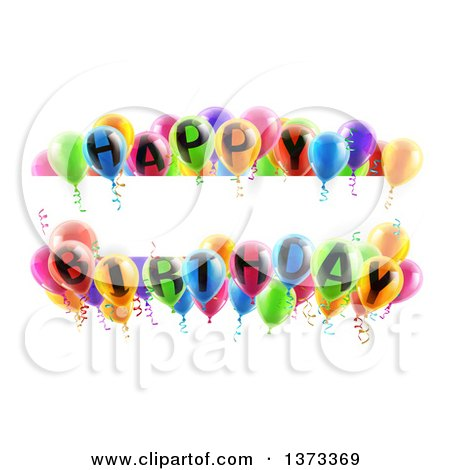Clipart of a Blank White Banner Signs Bordered in 3d Colorful Happy Birthday Party Balloons - Royalty Free Vector Illustration by AtStockIllustration