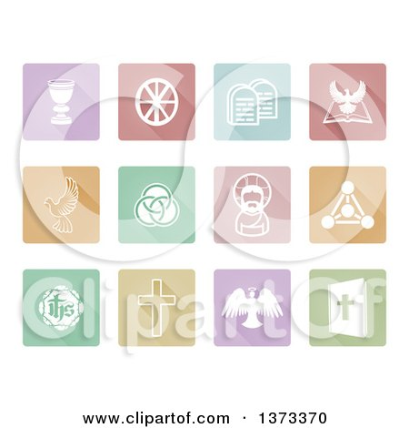 Clipart of White Christian Icons on Pastel Colorful Tiles with Shadows - Royalty Free Vector Illustration by AtStockIllustration